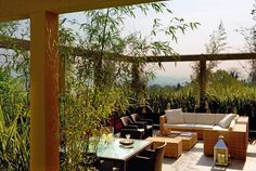 Bergamo. Private terrace. A resolute and concise atmosphere for a hanging garden