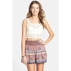 Junior Angie Print Woven Shorts ($19) ❤ liked on Polyvore