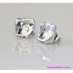 4662a0a6d Silpada Artisan Jewelry Bright Shiny Polished 925 Sterling Silver Small  Organic Square Nugget Post Stud Earrings Rare Retired