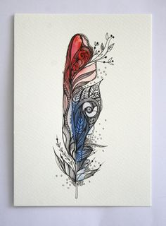 """Eye-ris Feather. 5""""x7"""" Original Artwork. Ink and Water Colors"""