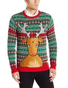 Blizzard Bay Men's Rudolph Ugly Christmas Sweater with Beer Pocket, Green/Red/Brown, Medium