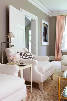 Home Office Pink, Gold & Gray Living Room with white linen sofa, pink curtains with gold hardware and gold coffee table (walls are BM Ranchwood) - Anne Hepfer Estilo Interior, Home Interior, Living Room Inspiration, Home Decor Inspiration, Wedding Inspiration, Design Inspiration, Living Room Grey, Home And Living, Modern Living