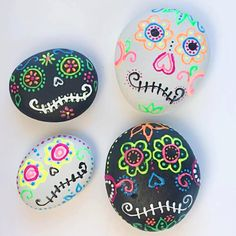Learn how to make sugar skull rocks using dimensional paint.