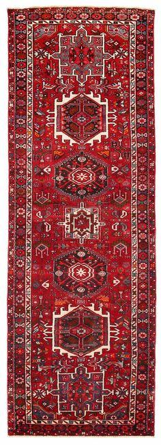 "3'5"" x 9'11"" PERSIAN KARAJEH Tribal Hand Knotted Wool RED Oriental Rug RUNNER #PersianKarajehTribalGeometric"