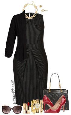 Plus Size Work Capsule Wardrobe - Plus Size Pinstripe Dress Outfit - Plus Size Work Outfit Idea - Plus Size Fashion for Women - alexawebb.com #plussize #alexawebb