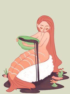 Illustration art food japan submission sushi mermaid japanese food artists on…