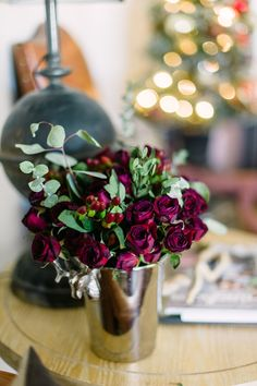 Deep red roses make the perfect blooms for a #holiday floral arrangement | From The Home Depot's Apron blog Holiday Style Challenge series and Paula of Two Ellie