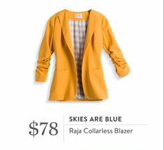 Stitch Fix October 2016 - Skies are Blue, Raja Collarless Blazer, great mustard color for fall