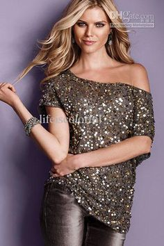 Wholesale Seductive Off-shoulder Glistening Sequin Top Tank Top Tees T-shirt for women 25078(Pink/Gray/Blue) Free shipping, Free shipping, $19.99/Piece | DHgate Mobile