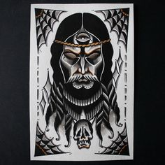 Traditional Tattoo Old School, Traditional Tattoo Design, Horror Drawing, Horror Art, Girly Skull Tattoos, Wizard Tattoo, Back Of Arm Tattoo, Christ Tattoo, Old Scool