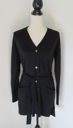 New GAP Black Merino Wool Blend Long Boyfriend Cardigan Sweater Belted S Womens  #Gap #Cardigan