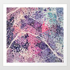 Paris Mosaic map #1 Art Print by Map Map Maps - $18.00