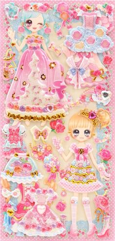 Japanese kawaii girls dress up doll puffy sponge stickers 'flower ribbon' - Cute Stickers - Sticker - Stationery - kawaii shop modeS4u