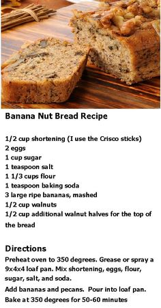 Banana Nut Bread Recipe, i turned into banana almond apricot bread with random stuff from kitchen.top with crushed almonds and drizzle with honey. Banana Nut Bread, Banana Bread Recipes, Nut Bread Recipe, Banana Bread Recipe With Crisco, Baking Recipes, Dessert Recipes, Pastry Recipes, Dinner Recipes, Delicious Desserts