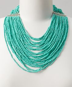 Take a look at the Silver & Turquoise Multi-Strand Bead Necklace on #zulily today!