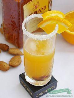 Coktail cu Lichior Amaretto si Portocale Juice Drinks, Milkshake, Smoothies, Toast, Mai, Juices, Food, Recipes, Alcohol