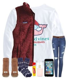 """""""super excited (:"""" by arieannahicks on Polyvore featuring Vineyard Vines, Patagonia, Topshop, Brooks Brothers, UGG Australia, OtterBox, Kate Spade, Carmex and Warehouse"""