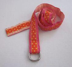 ELIZA B Women's Pink Orange Yellow Polka Dot Adjustable Belt Size L Large #ElizaB
