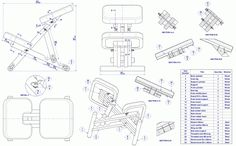 Wooden kneeling chair - Assembly drawing and parts list