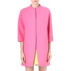 VALENTINO Collarless cropped-sleeved coat (Pink
