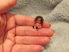 Miniature handmade MINI TINY TOY BABY GIRL ooak DOLLHOUSE ART DOLL HOUSE 1/12 as doll toy or 1:24 as little girl
