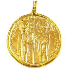 Ancient Byzantine Coin Solid 18K Yellow Gold Pendant Solid Gold Coin... ($370) ❤ liked on Polyvore featuring jewelry, pendants, 18 karat gold jewelry, pendant jewelry, charm pendant, gold pendant jewelry and yellow gold pendant