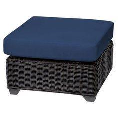 TK Classics Venice Wicker Outdoor Ottoman - Set of 2 Cushion Covers - TKC050B-O-NAVY