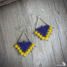 Handcrafted macrame earrings made with C-Lon thread - CYAN or Ultra Violet -Colour of the year 2018. Blue earring are with coral beads, Violet - with glass beads Ear hooks are made with 24K gold plated copper wire For other triangle earrings visit:
