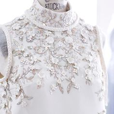 Preparing for Christmas with white pearls, sequins and cashmere. #ralphandrusso #couture #craftsmanship #atelier