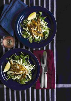 Smoked mackerel with celeriac and rocket salad: Create this stylish, great-value meal in no time at all. With a mustard and peppery salad, this smoked mackerel is the perfect healthy supper. And to turn up the flavour, add some chopped apples and raisins to the salad