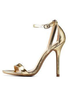 Single Sole Ankle Strap Heels: Charlotte Russe