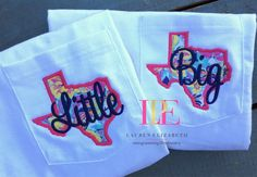 Lilly Pulitzer Big & Little State Pocket T-Shirt by LPEdesigns on Etsy… Sorority Sisters, Sorority Life, Sorority Shirts, Cheer Sister Gifts, Little Sister Gifts, Lil Sis, Kappa Delta Chi, Alpha Chi, Big Little Basket