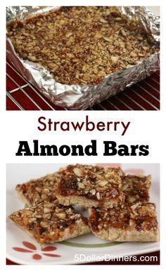 Strawberry Almond Bars ~ an easy after school snack or dessert   5DollarDinners.com