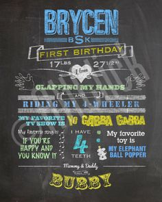 Custom Birthday Chalkboard Sign / First Birthday / Chalkboard Poster / Printable Digital File by AsFarAsDreamsAllow on Etsy https://www.etsy.com/listing/159882191/custom-birthday-chalkboard-sign-first