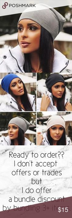 """Brooklyn Queen"" Cotton/Polyester Blend  Incredible soft, lightweight beanie, four colors available, blue, black, cream.  Bundle to get a discount. TSH Accessories Hats"