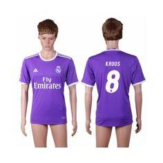 Real Madrid 16-17 Toni Kroos 8 Udebane Trøje Kortærmet.  http://www.fodboldsports.com/real-madrid-16-17-toni-kroos-8-udebane-troje-kortermet.  #fodboldtrøjer