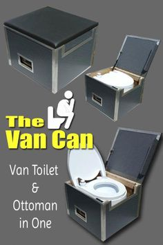 The Van Can: A Sprinter Van Toilet and Ottoman in One - camping Minivan Camping, Truck Camping, Camping Gear, Camping Hacks, Cargo Trailer Camper, Trailer Awning, Rv Trailer, Sprinter Van, Caravelle T5