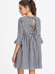 Shop Bow Tie Open Back Fluted Sleeve High Waist Gingham Dress online. SheIn offers Bow Tie Open Back Fluted Sleeve High Waist Gingham Dress & more to fit your fashionable needs. Cute Girl Dresses, Casual Dresses, Fashion Dresses, Cute Outfits, Summer Dresses, Shift Dresses, Long Dresses, Preppy Outfits, Vacation Dresses