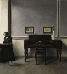 Vilhelm Hammershoi, Ida in an interior with piano