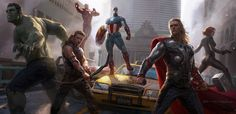 """""""The Avengers"""" film concept art by Ryan Meinerding. (He has done art for all of the MARVEL films and is currently working on """"Iron Man 3"""".)"""
