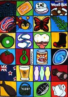 more kiwiana icons New Zealand Art, Nz Art, All Things New, Art Things, Maori Art, Kiwiana, Art Classroom, Plant Holders, Rock Art