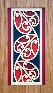 A New Zealand Maori style layered wooden Kowhawhai wall art panel. Maori Designs, Hawaiian Tribal, Hawaiian Tattoo, Maori Symbols, Maori Patterns, Zealand Tattoo, Polynesian Art, New Zealand Art, Jr Art