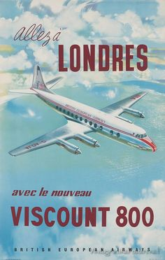 BEA (Britain) Vintage style travel poster - London - UK / Airline BEA Viscount 800