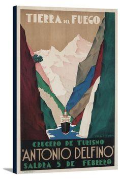 Argentina - Antonio Delfino - Tierra del Fuego - (artist: Tabrega) - Vintage Advertisement (24x36 Gallery Wrapped Stretched Canvas), Multi
