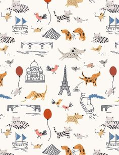It's supposed to be for kids but I want it! Fanciful Wallpaper by Little Cube: Remodelista Little Cube, the brainchild of Paris-based illustrator and designer Sarah Betts is about playful wallpaper and other textiles for children and their dreams Textiles, Textile Patterns, Art And Illustration, Pattern Illustration, Cute Pattern, Pattern Art, Pretty Patterns, Color Patterns, Painted Patterns