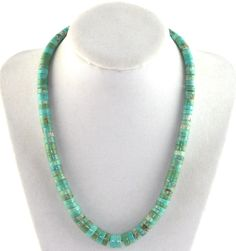 Old Pawn Southwestern Tribal Turquoise Heishi Necklace Sterling Silver Clasp