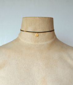 Dainty Black Cord Gold Chain Choker with Gold Coin Pendant by AugustChic on Etsy