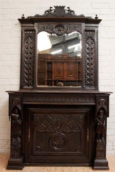 Rare+French+Breton+Fireplace+Mantle+Surround,Mirror&Door+for+Box+Opening,Antique+