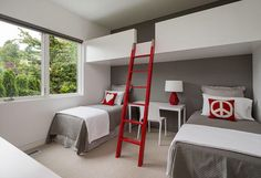 A modern minimalist design featuring a monochrome backdrop of gray and white, which makes the bold red accents really pop. #inspiration #interiordesign #bedroom #design #ideas via contemporist.com  Visit adoreinteriors.com for more design tips, inspiration and product.