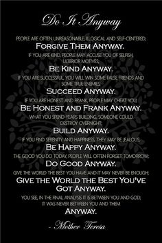 Do It Anyway - Inspirational Quote by Mother Teresa